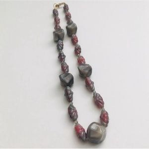Grayish Red Beaded Necklace